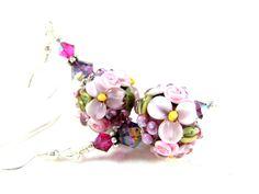 Light Purple Pink Flower Earrings Floral by GlassRiverJewelry