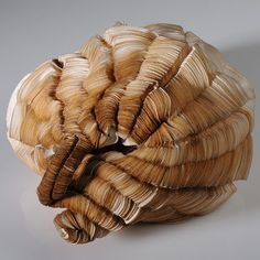 Sivan Royz, blooming structures.  These fungus-like purses are made of layers of laser-cut silk.