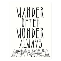 Travel quote art print with illustrated mountains from the Wander Often Wonder Always™ exclusive collection by Hello Small World featuring
