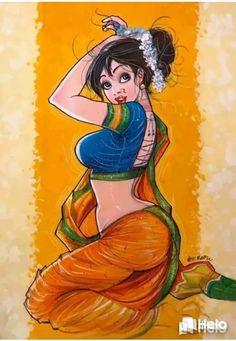 Art Sketches, Art Drawings, Cartoon Drawings, Comic Art Girls, Cartoon Girls, Indian Art Gallery, Sexy Painting, Beautiful Fantasy Art, Beautiful Roses