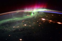 Exhibit B. Previous pinner: Aurora Borealis from the International Space Station. Me: This is a wonderful photo, the likes of which I never thought I'd see! First of all, The ISS is in what is called a low earth orbit, only 249 miles above us. That is why the Earth is so big in this shot, and why you can see so much detail on the ground. Notice the blue line on the horizon. The ISS is either approaching or leaving behind daylight.