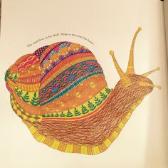 Snail by Millie Marotta from Animal Kingdom. Coloured by Hazel Smithies in glitter gel pens.