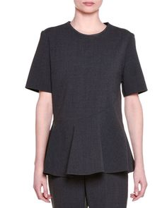 STELLA MCCARTNEY SHORT-SLEEVE JEWEL-NECK PEPLUM TOP, GRANITE. #stellamccartney #cloth #