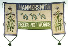 The colors of WSPU were announced early in 1908 as purple, white and green. They were no secret - hundreds of protestors would march behind banners such as this one, from the London Borough of Hammersmith, c. 1910. Courtesy the Museum of London.  (link goes to an article about myths and facts with regard to suffragette tokens and jewelry)