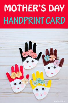 Mother's Day handprint card for kids to make for mom. Adorable craft for toddlers, preschoolers and older kids. #mothersday #mothersdaycard #handprint
