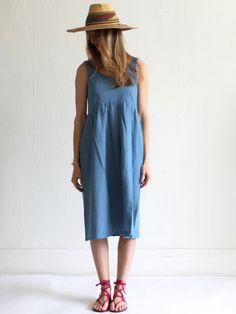 MILLE | Ilana Kohn Abby Dress - Chambray   + 80% cotton, 20% Linen  + easy fit  + hits mid calf