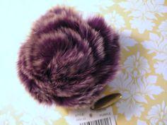 New w Tag Adrienne Landau Rabbit Fur Pin Brooch Plum Purple Saks Fifth Ave  #AdrienneLandau