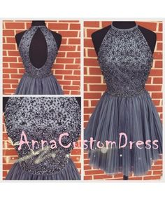 Beaded Halter Short Charcoal Grey Pleated Tulle Homecoming Dress
