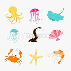 Cute Sea life icons Royalty Free Stock Vector Art Illustration
