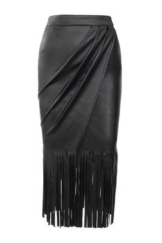 'Nicasia' Black Vegan Leather Fringed Wrap Skirt