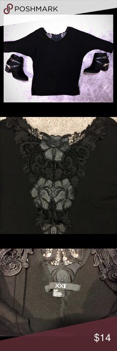 New XXI Black Sweater with Lace Back New Black XXI Sweater with Lace pattern on the back as pictured above. Size small. Perfect top for the fall! Forever 21 Sweaters Crew & Scoop Necks