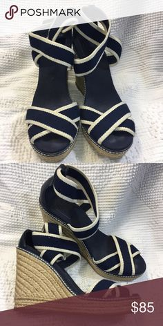 Tory Burch Adonis Wedge Espadrilles Navy Blue cute spring and summer shoes. 4.5 inch and 1 inch platform high PLEASE NO TRADES! NO P PA L! NO MRCRI! Open to offers but please remember to be reasonable. I have a bundle discount up right now but let me know if you wanna knock off a few more dollars. Tory Burch Shoes