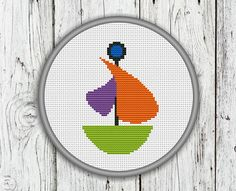 Little Cute Sailboat Counted Cross Stitch Boat by CrossStitchShop