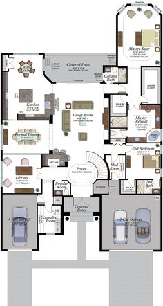 Learn more about the Sebastian Plan in the Boulder Collection at The Ridge at Wiregrass Ranch in Wesley Chapel Florida. This plan features 4 bedrooms and 5 and a half bathrooms with square feet New House Plans, Small House Plans, Powder Room Storage, Flat Roof Tiles, Wesley Chapel Florida, Brick Pavers, Built In Ovens, House Blueprints, Modern House Design