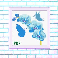 Butterflies Modern Cross Stitch Pattern, blue watercolor, flowers, needlepoint-DIY, insect, nature, embroidery, Instant download PDF Sugar Skull Halloween, Bird Skull, Modern Cross Stitch Patterns, Colorful Pictures, Watercolor Flowers, Cross Stitching, Needlepoint, Butterflies, Pdf