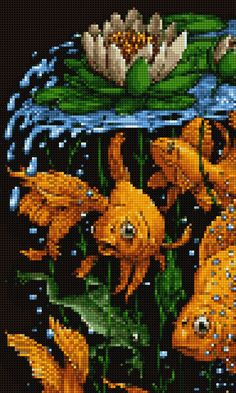 Cichlids, Pixel Art, Cross Stitch Patterns, Needlework, Kimono, Abstract, Poster, Decor, Bed Covers