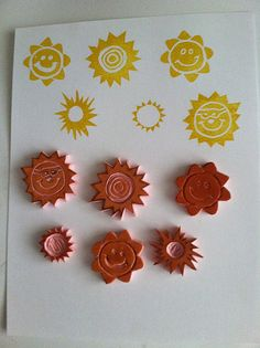 Set of Sun Hand Carved Stamps