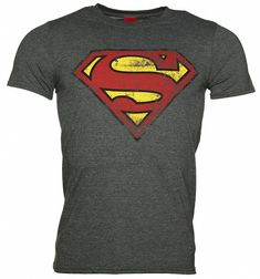 Men's Charcoal Distressed Superman Logo T-Shirt