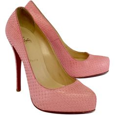 Pre-owned Christian Louboutin Pink Snakeskin Leather Pumps ($589) ❤ liked on Polyvore featuring shoes, pumps, low heel shoes, pink pumps, christian louboutin shoes, low heel platform pumps and platform pumps