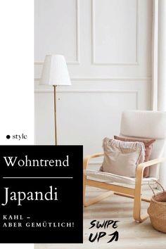 Man nehme skandinavisches #Hygge, mische es zu japanischem Wabi-Sabi (das hat nichts mit Wasabi zu tun), et voilà: ein neuer Wohntrend ist geschaffen. #Japandi ist ein Mix aus #Wohlfühl-Objekten und reduzierter #Einrichtung. Wie die Kombination gelingt? Wir haben uns da mal schlau gemacht. #wohntrends #living #wohnen Hygge, Accent Chairs, Lettering, Interior, Furniture, Home Decor, Style, Ad Home, Homes