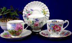 3 Vintage Queen Anne Meadowside Royal Doulton Clarence Demi Tea Cup & Saucer Set