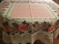 Pink / Gray Floral Tablecloth Vintage 1950s Cotton by InVintageFashion, $29.00