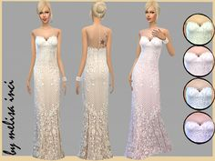 Sleeveless Lace Wedding Dress by melisa inci at TSR via Sims 4 Updates