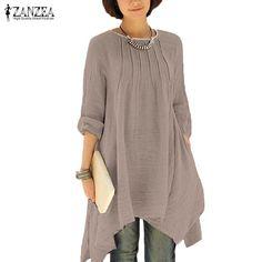 e5bdc3e4e1e1 Blouses for women - 2017 ZANZEA Vintage Women Autumn O Neck Long Sleeve  Asymmetrical Hem Solid Long Shirt Blouse Casual Loose Pleated Tops Plus Size