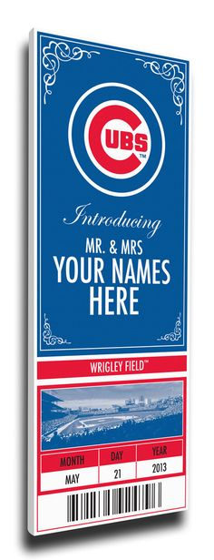 Chicago Cubs Personalized Special Occasion Announcement on Canvas - Ticket Design