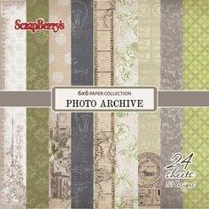 Scrapbookdepot - ScrapBerrys Photo Archive Papier pakket 24 vel 15,2x15,2cm