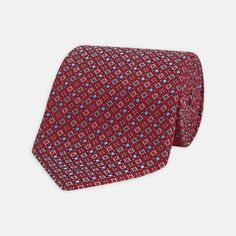 Assorted Diamonds Red and Blue Silk Tie