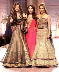 Sophie Choudry with Miss Universe Canada 2012, Sahar Biniaz and designer Mandira Wirk on Day 5 of the Amby Valley India Bridal Fashion Week. #Fashion #Style #Beauty #Bollywood