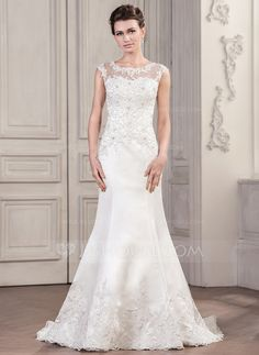 Trumpet/Mermaid Scoop Neck Chapel Train Satin Tulle Wedding Dress With Beading Appliques Lace Sequins Wedding Dresses Under 100, White Wedding Gowns, Affordable Wedding Dresses, Wedding Dresses For Sale, Colored Wedding Dresses, Cheap Wedding Dress, Wedding Party Dresses, Wedding Attire, Bridal Dresses