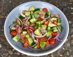 This tomato, cucumber and avocado salad is super easy to throw together and can be eaten as a main (with pitta, tortilla, scones); Cucumber Avocado Salad, Vegetarian Meals, Super Easy, Salsa, Eat, Ethnic Recipes, Food, Veggie Meals, Veggie Food