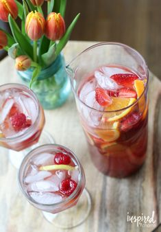 spring sangria - this looks so refreshing with a rose wine!
