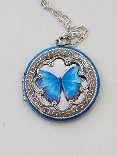 Blue Butterfly Silver LocketJewelry GiftPendantBlue by emmagemshop