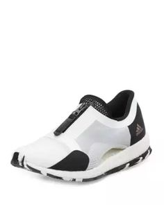 X3D91 Adidas Pure Boost Zip-Front Sneaker, White/Black