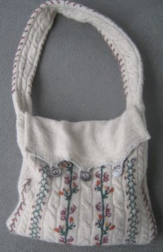 Cute felted wool sweater-purse. How come I can't find wool sweaters this cute?