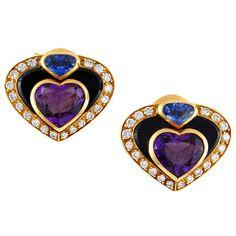 MARINA-B.-Amethyst-Diamond-Sapphire-Hearts-Earclips-mounted-in-18kt-yellow-gold-Yafa.jpg (768×768)