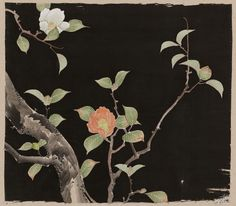 Textile sample with design of flowering camellia (tsubaki) in orange, green, brown, yellow, gray and white on a black silk crêpe ground, created by the yûzen process, accented with green and yellow silk embroidery and gold metallic thread couching.