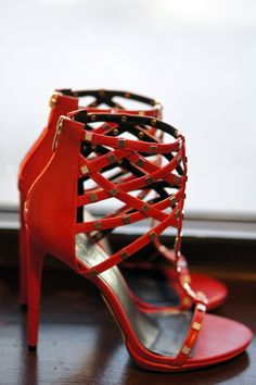 @ShoeDazzle red studded heels...