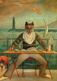 Painting by Balthus (1908–2001), 1949,  The Cat of La Méditerranée, oil on canvas. Private collection (detail)