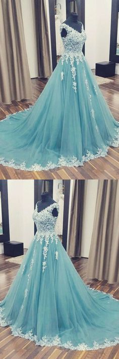 V-Neck Appliques A-Line Prom Dresses,Long Prom Dresses,Cheap Prom
