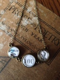 Beautiful Be-You-tiful Necklace - Upcycled/Recycled Book Page