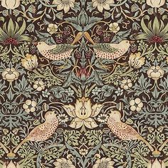 Strawberry Thief Cotton Fabric A classic William Morris floral and bird design in chocolate brown with aqua, beiges and golds.