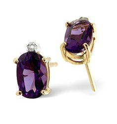 Amethyst 0.80CT And Diamond 9K Yellow Gold Earrings - Item H4253. #thediamondstoreuk #amethystearrings #amethyst #earrings #diamonds