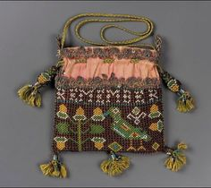 "Small square drawstring bag with netted glass seed beadwork. Beadwork inscription: ""Remember the Poore."" Bird, flower, and acorn motifs. Pink silk ground with polychr … Vintage Purses, Vintage Bags, Vintage Handbags, Sweet Bags, Bags Online Shopping, Passementerie, Beaded Bags, Museum Of Fine Arts, Pink Silk"