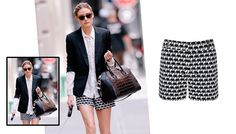 Olivia Palermo in the Milly Collection for Banana Republic elephant print shorts.