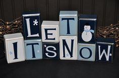 Let It Snow snowman wooden primitive letter block sign
