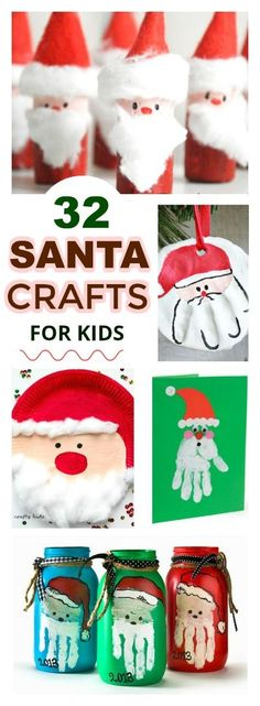 SANTA CLAUS CHRISTMAS CRAFTS FOR KIDS: 32 adorable ideas! #Christmascraftsforkids #Santacrafts